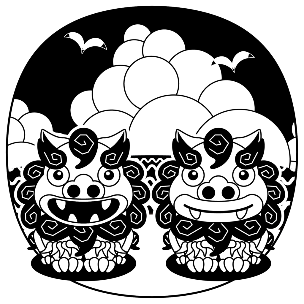 商用フリー・無料イラスト_モノクロ(白黒)のシーサー_shisa024