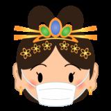 商用フリー・無料イラスト_七福神_マスクをした弁財天の顔イラスト(べんざいてん/benzaiten)_shichifukujin045