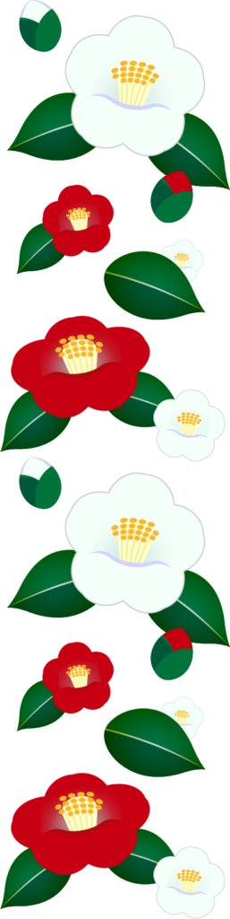 商用フリー・無料イラスト_紅白椿(つばき)の花のパターン_tsubaki018