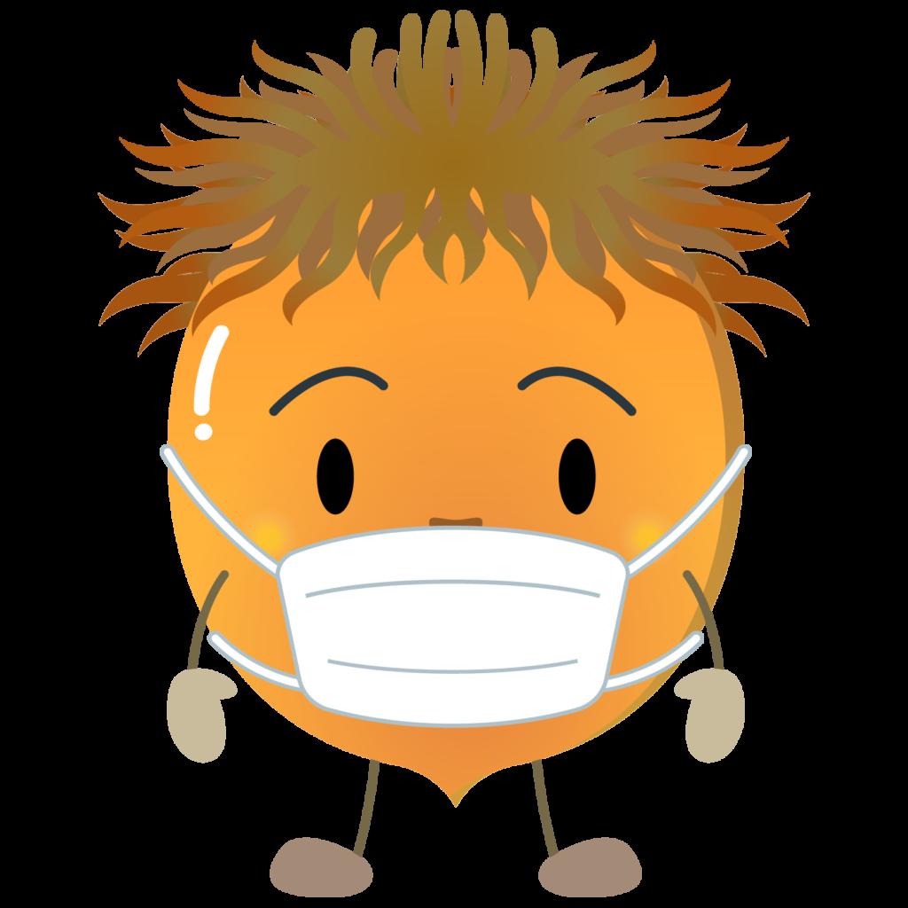 商用フリー・無料イラスト_マスクをしたどんぐりのイラスト_Acorn013