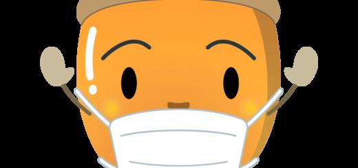 商用フリー・無料イラスト_マスクをしたどんぐりのイラスト_Acorn014