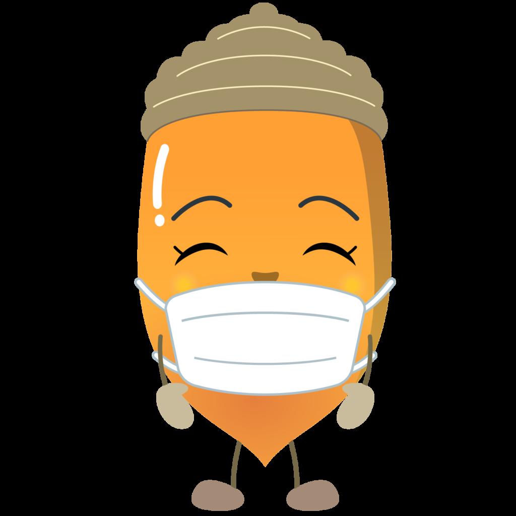 商用フリー・無料イラスト_マスクをしたどんぐりのイラスト_Acorn015