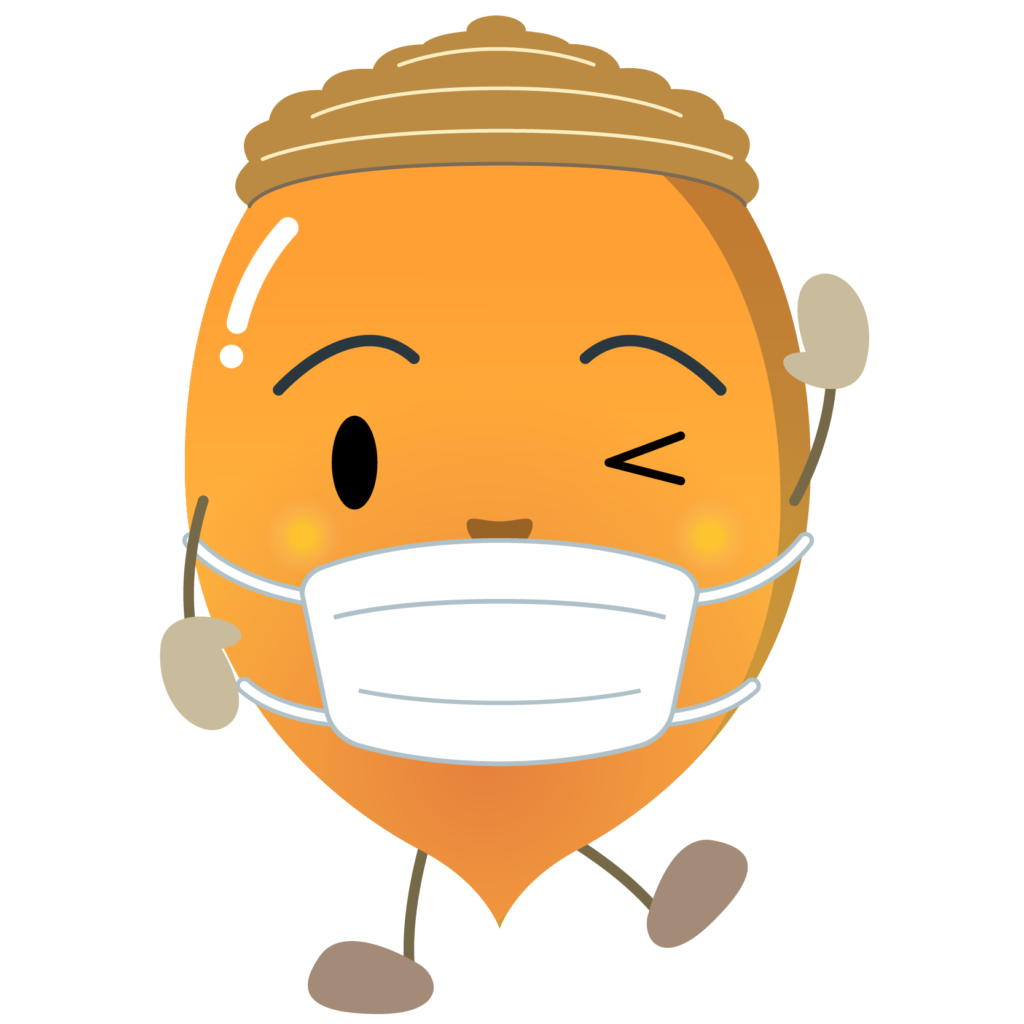 商用フリー・無料イラスト_マスクをしたどんぐりのイラスト_Acorn016