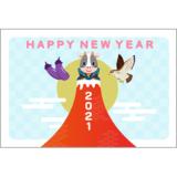 商用フリー・無料イラスト_丑年年賀状(2021・令和3年)横位置_NengajoUshidoshiYoko005