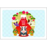 商用フリー・無料イラスト_丑年年賀状(2021・令和3年)横位置_NengajoUshidoshiYoko007