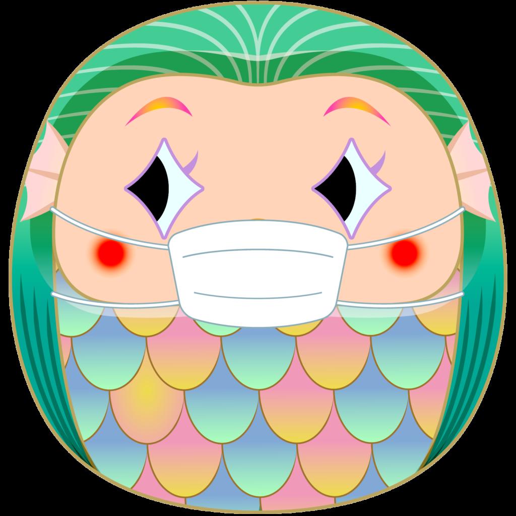 商用フリー・無料イラスト_疫病退散妖怪_マスクをしただるまアマビエ_amabie018