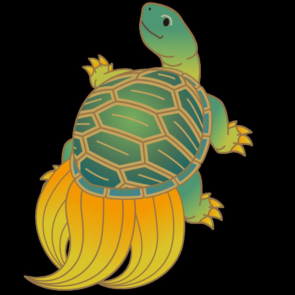 商用フリー・無料イラスト_縁起物の亀・蓑亀(かめ・みのがめ)のイラスト_Turtle001