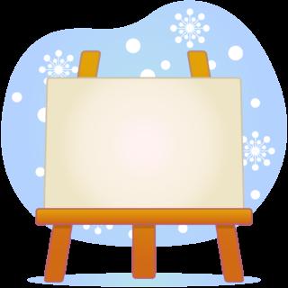 商用フリー・無料イラスト_クリスマス_イーゼル・キャンバスMerryChristmasEasel,Canvas_001