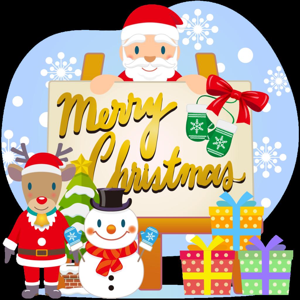 商用フリー・無料イラスト_クリスマス_イーゼル・キャンバスMerryChristmasEasel,Canvas_003