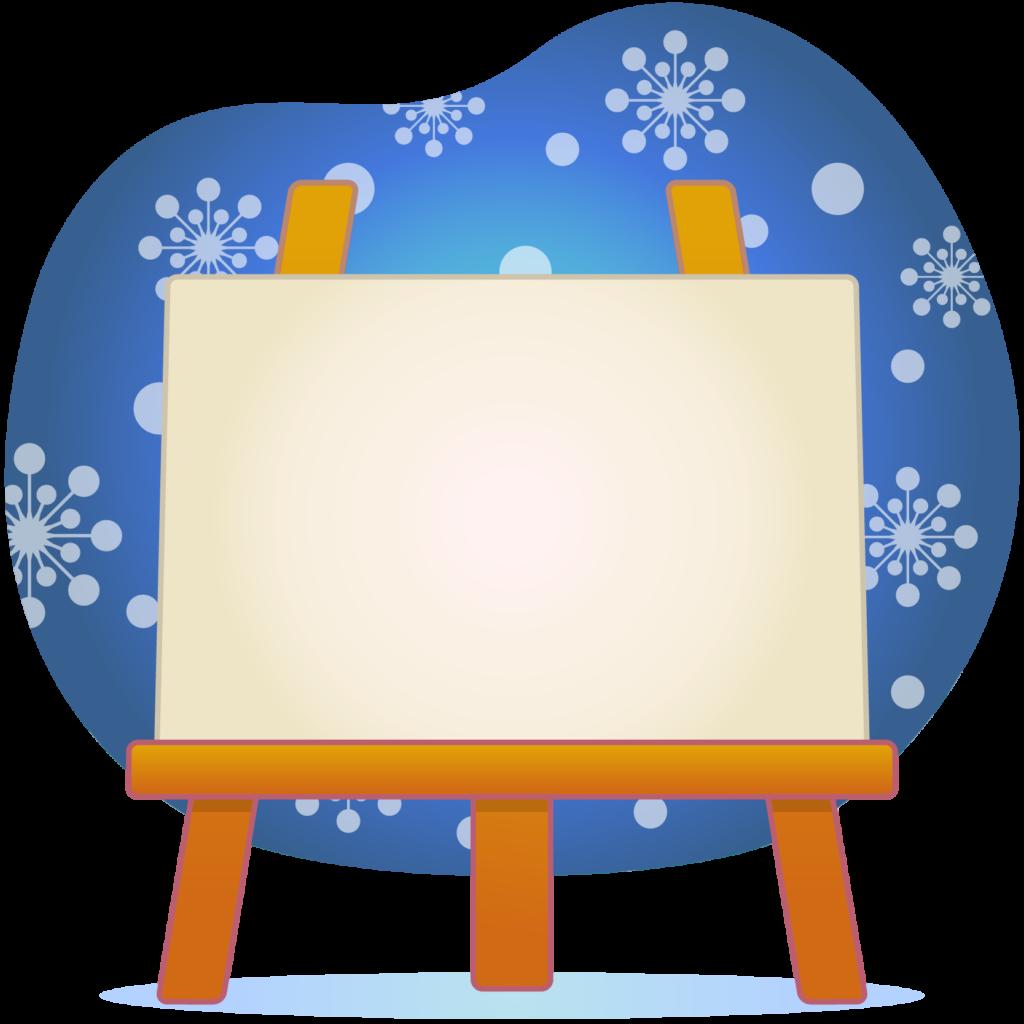 商用フリー・無料イラスト_クリスマス_イーゼル・キャンバスMerryChristmasEasel,Canvas_004