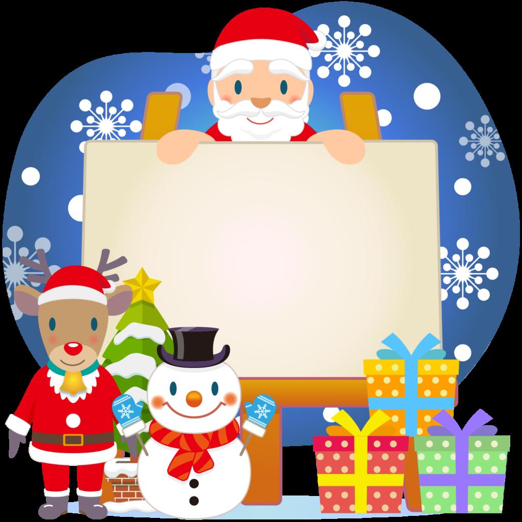 商用フリー・無料イラスト_クリスマス_イーゼル・キャンバスMerryChristmasEasel,Canvas_005