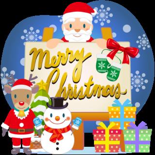商用フリー・無料イラスト_クリスマス_イーゼル・キャンバスMerryChristmasEasel,Canvas_006