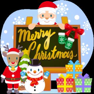 商用フリー・無料イラスト_クリスマス_イーゼル・キャンバスMerryChristmasEasel,Canvas_009
