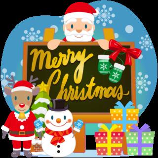 商用フリー・無料イラスト_クリスマス_イーゼル・キャンバスMerryChristmasEasel,Canvas_012