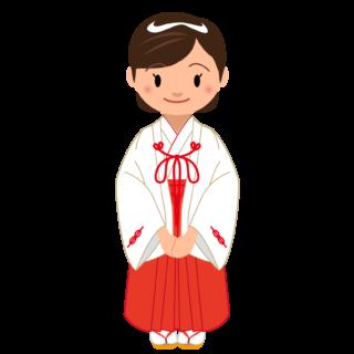 商用フリー・無料イラスト_千早(無地)姿の巫女さんのイラスト_miko003