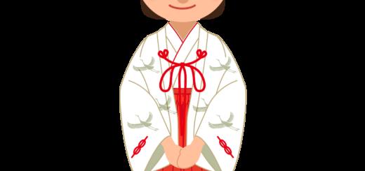 商用フリー・無料イラスト_千早(鶴・つる)姿の巫女さんのイラスト_miko004