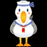 商用フリー・無料イラスト_カモメの水兵さんのイラスト_Seagull Illustration006