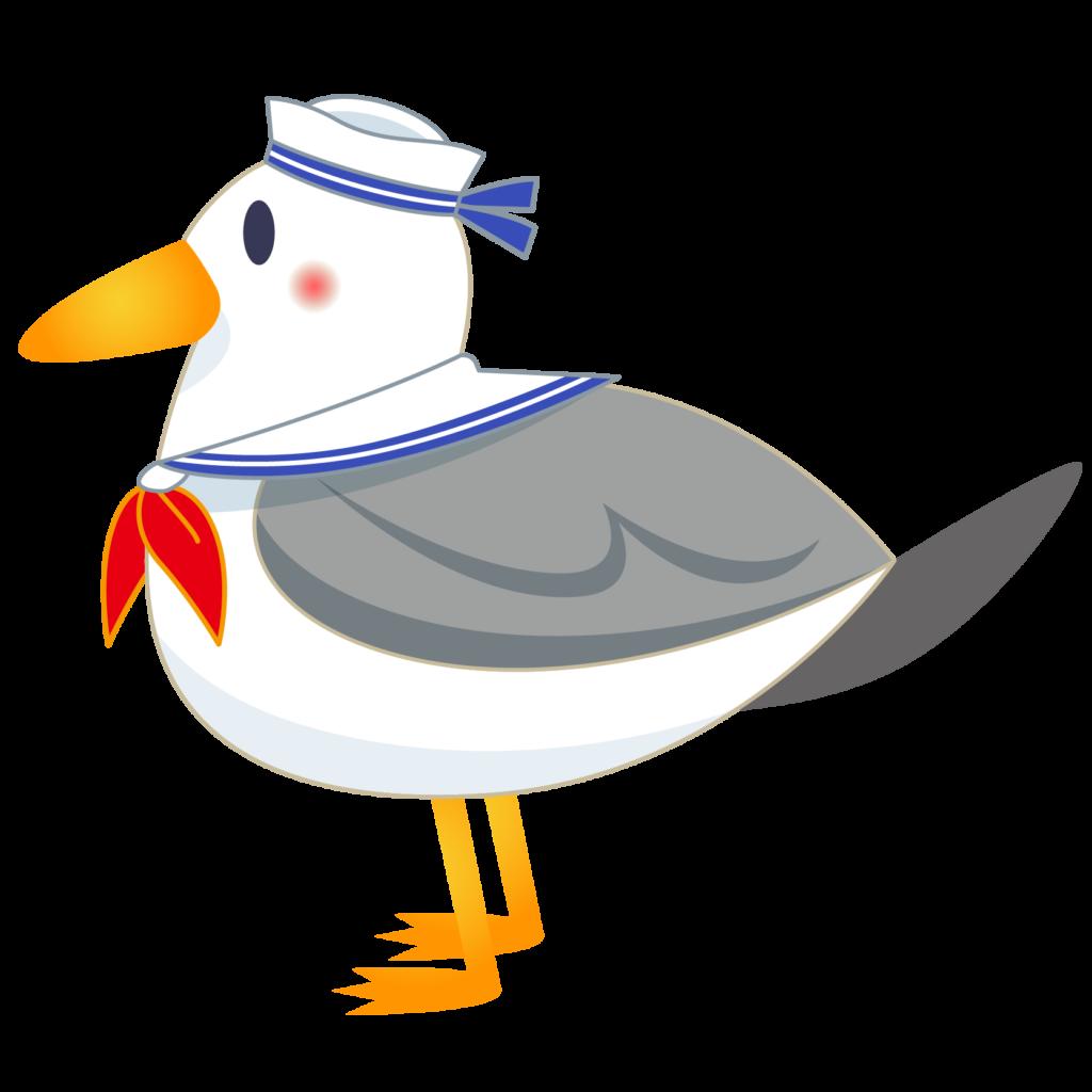 商用フリー・無料イラスト_カモメの水兵さんのイラスト_Seagull Illustration007