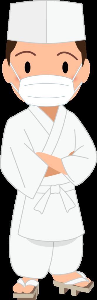 商用フリー・無料イラスト_マスクをした若い男性料理人のイラスト_Japanese cook005
