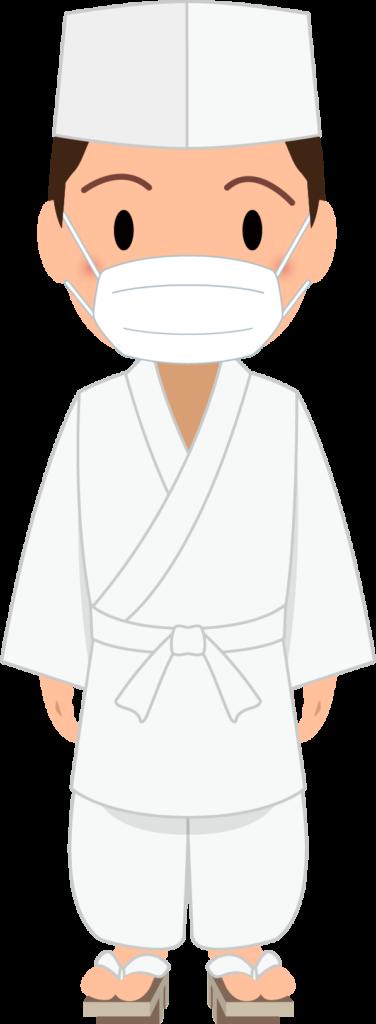 商用フリー・無料イラスト_マスクをした若い男性料理人のイラスト_Japanese cook006