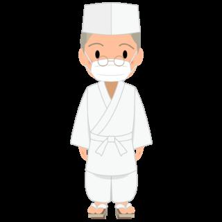 商用フリー・無料イラスト_マスクをしたベテラン男性料理人のイラスト_Japanese cook007
