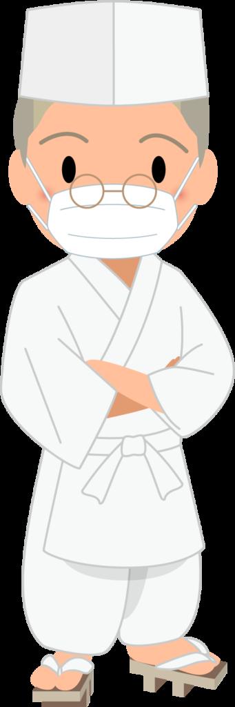 商用フリー・無料イラスト_マスクをしたベテラン男性料理人のイラスト_Japanese cook008