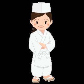 商用フリー・無料イラスト_若い女性料理人のイラスト_Japanese cook009