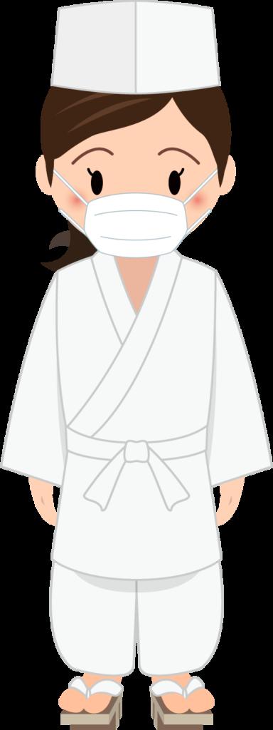 商用フリー・無料イラスト_マスクをした若い女性料理人(調理師)のイラスト_Japanese cook012