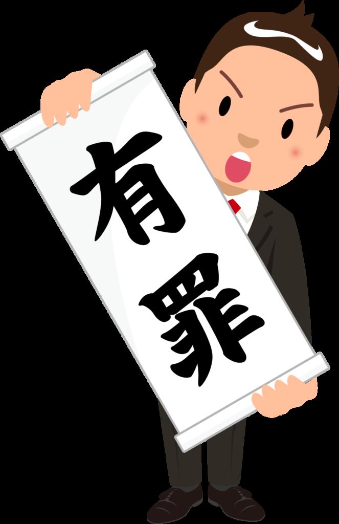 商用フリー・無料イラスト_「有罪」の紙を広げる男性のイラスト_birohn021