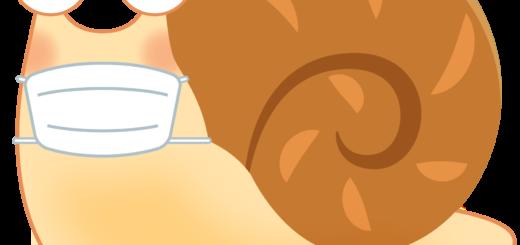 商用フリー・無料イラスト_マスクをしたかたつむり(蝸牛・でんでんむし)のイラスト_Snaili llustration003