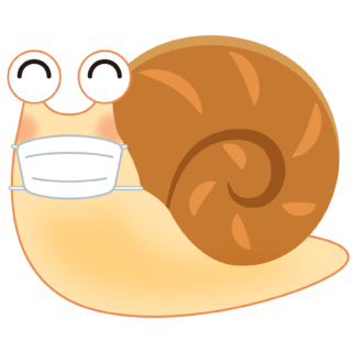 商用フリー・無料イラスト_マスクをしたかたつむり(蝸牛・でんでんむし)のイラスト_Snaili llustration004