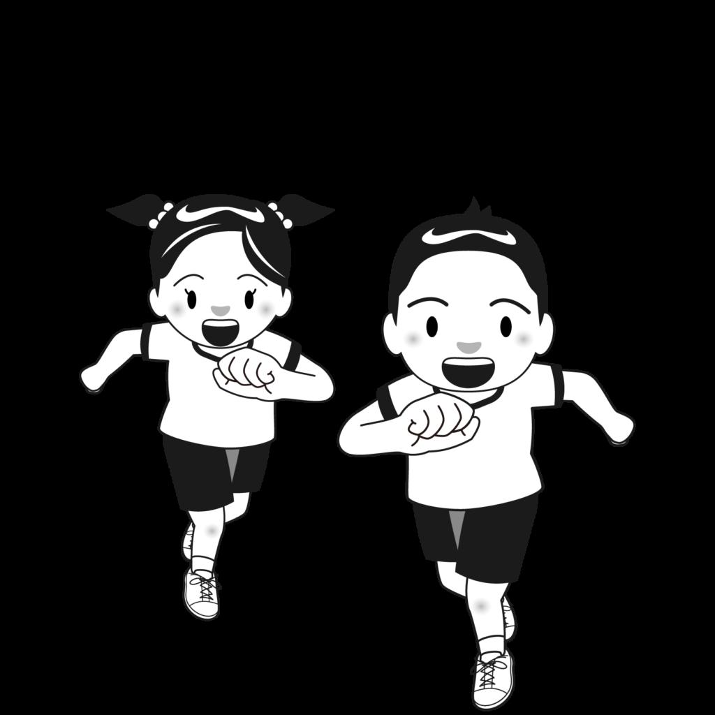商用フリー・無料イラスト_体育の日(スポーツの日)のイラスト_白黒モノクロ_taiikunohi016