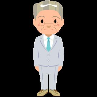 商用フリー・無料イラスト_スーツ姿のおじいちゃん_suit_grandfather001