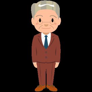 商用フリー・無料イラスト_スーツ姿のおじいちゃん_suit_grandfather002