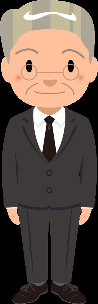 商用フリー・無料イラスト_スーツ姿のおじいちゃん_suit_grandfather003
