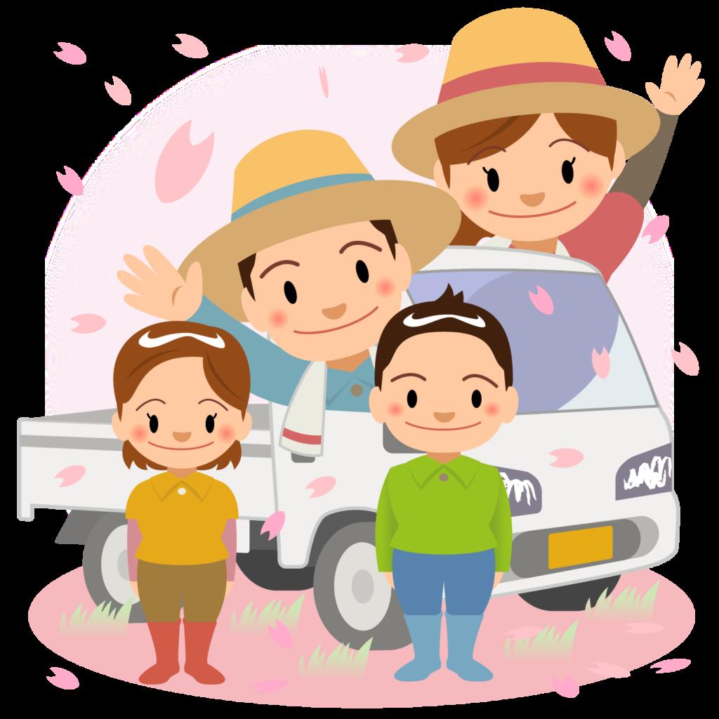 商用フリー・無料イラスト_軽トラックと農家の家族_春nogyo032