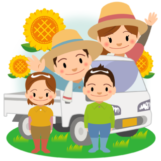 商用フリー・無料イラスト_軽トラックと農家の家族_夏nogyo033