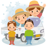 商用フリー・無料イラスト_軽トラックと農家の家族_冬nogyo035