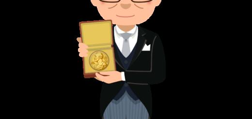 商用フリーイラスト_表彰_燕尾服_笑顔の男性_ノーベル賞_メダル_Nobel Prize_041
